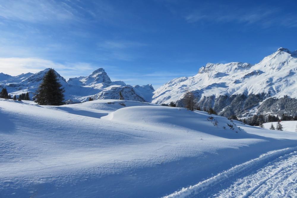 Winterstimmung auf der Alp Flix; Pkt. 2792m, Piz Platta, 3392m, Täligrat 3143m, Usser Wissberg 3053m, Piz Forbesch  3226m, Piz Arbalatsch 3203m,