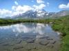 namenloses Seelein 2200m mit Fletschhorn ind en Wolken und Böshorn