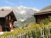 schöne Holzhäuser in Bellwald; Wannenhörner