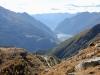 Blick auf den Lago Poschiavo und die Alp Grüm