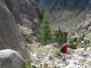 steiler Abstieg von der Burghütte