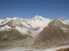 Grosses Fusshorn 3626m, Rotstock 3701m, Geisshorn 3740m,  Sattelhorn 3724m,vo Zenbächenhorn 3386m, Aletschhorn 4195m, Mittelaletschgletscher,  Olmenhorn 3314m, Dreieckhorn 3811m; Jungfrau 4158m