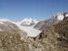 Jungfrau 4158m, Sphinx 3569m, Mönch 4099m, Trugberg 3933m, Eiger 3970m, Cham 3866m, Fiescher Gabelhorn 3876m