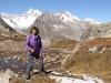 Marianne beim Seelein auf dem Tälligrat; Geisshorn 3740m,  Sattelhorn 3724m, Aletschhorn 4195m, Mittelaletschgletscher,  Olmenhorn 3314m, Dreieckhorn 3811m, Jungfrau 4158m
