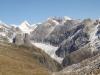 Sicht vom Tälligrat auf den Fieschergletscher;  Finsteraarhorn 4274m, Studerhorn 3638m, Oberaarhorn 3637m, Oberaarrothorn 3477m, Wasenhorn 3447m, Vorder Galmihorn 3571m