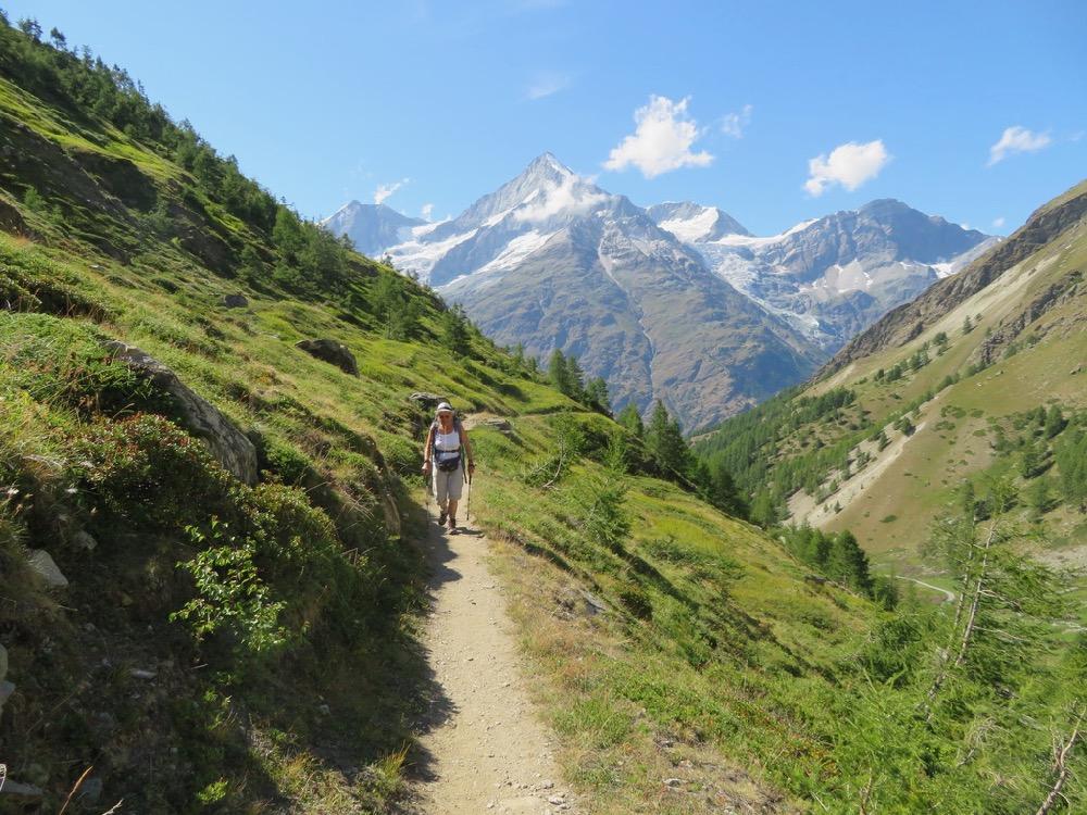 auf dem Weg zur Täschalp; Schalihorn 3975m, Weisshorn 4505m, Bishorn 4153m, Brunegghorn 3853m