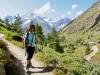 Marianne vor dem Weisshorn 4505m, Bishorn 4153m