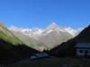 Morgen auf der Täschalp;  Schalihorn 3975m, Weisshorn 4505m, Bishorn 4153m