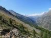 unterwegs auf dem Europaweg; Blick zurück gegen Zermatt