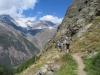 unterwegs auf dem Europaweg; Weisshorn 4505m, Bisgletscher,  Bishorn 4153m, Brunegghorn 3853m
