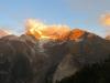morgens auf der Europahütte; Weisshorn 4505m, Bisgletscher,  Bishorn 4153m, Brunegghorn 3853m