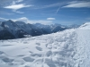 Bättlihorn 2992m, hi Monte Leone 3553,  vo Gr. Huwetz 2923m; Fletschhorn 3993m,  Monterosa Massiv, Liskamm 4527m, Alphubel 4206m ,  Mischabelgruppe, Matterhorn 4487m, Weisshorn 4506m, Bishorn  4153m