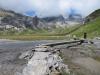 Hochebene  Segnas Sut; zum Wasserfall; Kl.Tschingelhorn 2846m, Gr. Tschingelhorn 2849m,  Pass dil Segnas 2627m