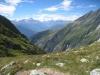 Blick ins Gredetschtal; Mischabelgruppe, Matterhorn, Weisshorn