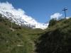Kreuz auf der Clabinualp; Blick zum Balmhorn 3698m,  Gitzifurggu 2912m