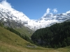 Sicht ins Tal hinein: Balmhorn 3698m,  Gitzifurggu 2912m, Ferdenrothorn 3180m