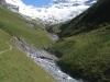 der Weg führt oberhalb der Dala dem Hang entlang; Balmhorn 3698m,  Gitzifurggu 2912m, Ferdenrothorn 3180m