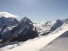 Blick vom Corvatsch 3303m: Piz Roseg 3937m, Fuorcla la Sella  mit Sella Gletscher,  Piz Sella 3506m