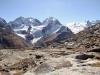 auf der Fourcla Surlej 2755m; Piz Bernina 4048m, Piz Scercen 3971m, Piz Roseg 3937m, Fuorcla la Sella  mit Sella Gletscher,  Piz Sella 3506m, Dschimels 3501m, La Sella 3584m, Piz Glüschaint 3594m,