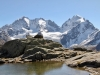 auf der Fourcla Surlej 2755m; Piz Bernina 4048m, Piz Scercen 3971m, Piz Roseg 3937m