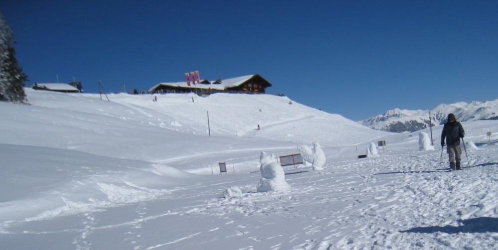 Schneeskulpturen einer Kunstschule bei der Schwänzelegg