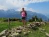 Bruni vor:  Dossen 3133m, Rosenhorn 3689m mit Rosenlauigletscher, Mittelhorn 3656m,vo Wellhorn 3191m  Wetterhorn 3692m, Scheideggwetterhorn 3361m, Trugberg 3933m, Mönch 4107m, Eiger 3970m