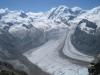 Monte Rosa Nordend 4609m, Dufourspitze 4643m, Liskamm 4527m, West, Lukamm 4479m, li Grenzgletscher, re Zwillingsgletscher
