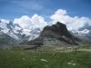 Ausblick beim Abstieg vom Gornergrat; mit kl. Matterhorn und Riffelhorn 2827m