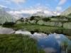 Spiegelung im Moorsee; Winterstock 3203m  ganzes Massiv, Gletschhorn 3305m, Galenstock 3586m,Tiefenstock 3515m, Vorderer Rhonestock 3566m, Hinterer Rhonestock 3588m, Dammastock  3630m, Schneestock 3608m, Eggstock 3583m