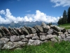 Steinmauer mit Churfirsten