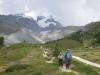 Ankunft der Gruppe mit Strahlhorn, Adlerhorn und Findelgletscher