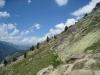 Wandern im steilen Hang