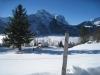 Winterstimmung bei ReutI; Engelhörner 2855m, Dossen 3138m, Rosenhorn 3689m, vorne Wellhorn 3192m, Mittelhorn 3704m, Wetterhorn 3701m, Scheideggwetterhorn 3361m