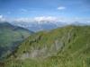Blick vom Tguma nach Tenna, Flimserstein, Tristelhorn, Calanda