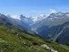 Blick auf Zinal; Zinalrothorn 4221m, Besso  3667m  Obergabelhorn 4063m, Matterhorn 4478m, Pointe de Zinal 3789m, Dent Blanche 4357m, Garde de Bordon 3310m