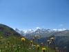 auf dem Höhenweg nach Zinal;  Besso  3667m  Obergabelhorn 4063m, Matterhorn 4478m, Pointe de Zinal 3789m, Dent Blanche 4357m, Garde de Bordon 3310m