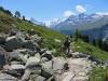 malerische Landschaftmit Besso  3667m  Obergabelhorn 4063m, Matterhorn 4478m, Pointe de Zinal 3789m, Dent Blanche 4357m, Garde de Bordon 3310m