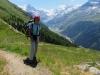 Marianne vor  Besso  3667m, Matterhorn 4478m, Pointe de Zinal 3789m, Dent Blanche 4357m, Garde de Bordon 3310m