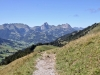 Blick zurück gegen Gstaad; Staldenflue 2250m, Gummfluh 2458m,  Le Rubli 2284m