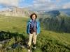 Marianne vor dem Le Toûno 3018m,hi le Diablons 3609m, Pointes de Nava   2540m