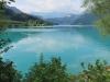 Blick auf den Lungernsee vom Staudamm aus