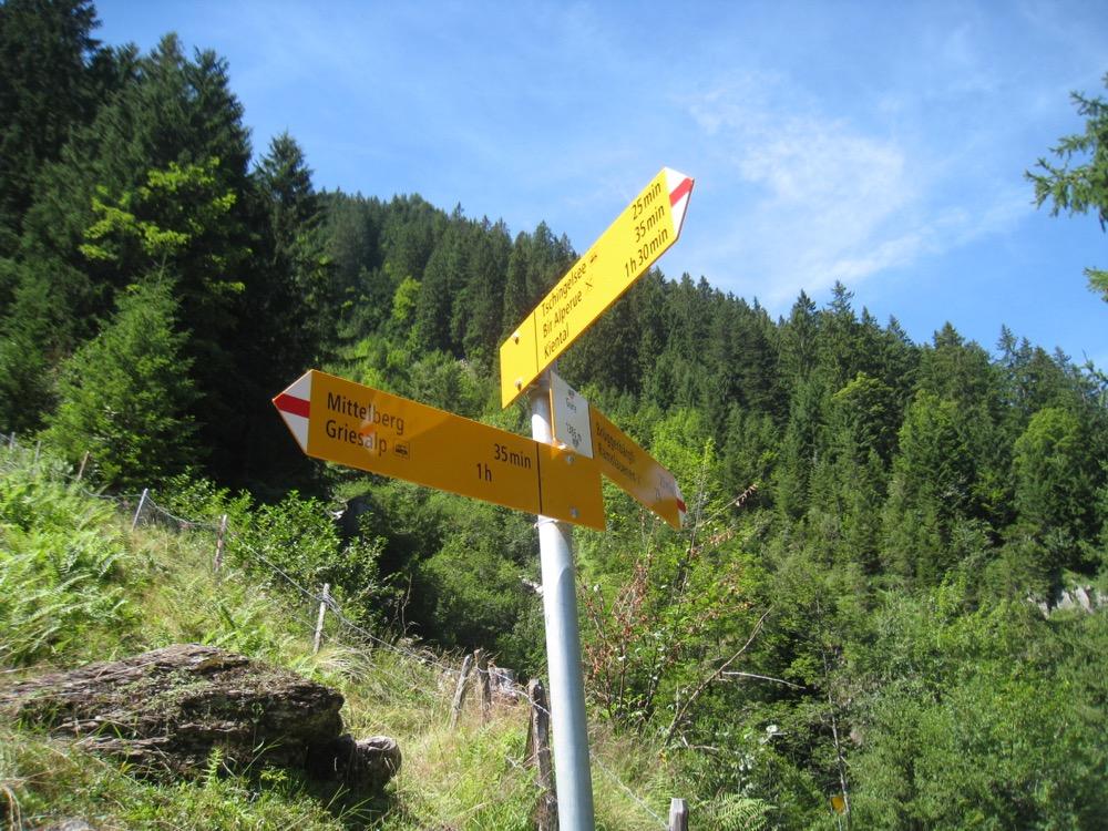 Wegweiser auf dem neuen Höhenweg; Gure 1386m