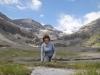 Marianne auf dem Lämmerenboden; Schneehore 3179m, Chlis Schneehore 3146m, WIldstrubel 3244m, Wildstrubelgletscher