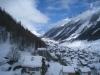Blick von der Seilbahn ins Lötschental hinein; Wiler mit  Sattelhorn
