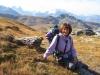 Marianne bei der Leglerhütte 2273m; Vorstegkopf 2677m, Gemsfairenstock 2972m,  Clariden 3267m, Chli Clariden 3191m