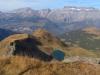 Blick hinunter auf den Engisee; Vorder Eggstock 2449m, Bös Fulen 2802m, Rüchigrat 2506m, Bösbächistock 2914m,vo Vorderchammstock 2404m, ganz vo First 1997m, hi Rad 2661m, Bächistock 2915m, Glärnisch-Ruchen  2901m, Schwander Grat 2883m, unt  Guppenfirn, Vrenelisgärtli 2904m