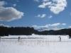 Langläufer auf dem Heidsee: Piz Toissa und Piz Curver