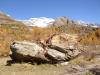 Herbstlandschaft im Lötschental; Sturzblock mit Grosshorn und Jegichnubel