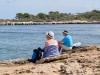 unterwegs am Strand nach Colonia San Jordi; kurze  Rast