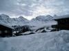 Winterstimmung in Mürren, Grosshorn 3762m, Lauterbrunnen Breithorn 3782m, hi Tschingelhorn 3577m,vo Tschingelgrat  3139m,  Tschingelspitz 3318m, Gspaltenhorn 3437m